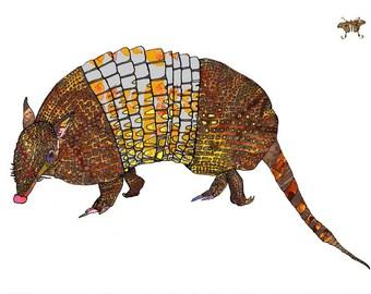 Armadillo Art Print - Southwest Art print - Animal Art - // Wall Art //13 x19, 11 x 14, 8 x 10, 5 x 7