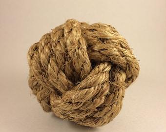"Monkey fist nautical balls, 4 - 4 1/2"" in diameter made from manila rope"