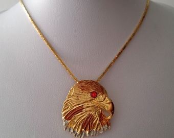 Vintage Gold Tone Textured Eagle Pendant With Box Chain Necklace