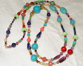 Many Colors Fiesta Summertime Gemstone Necklace - 37 inches