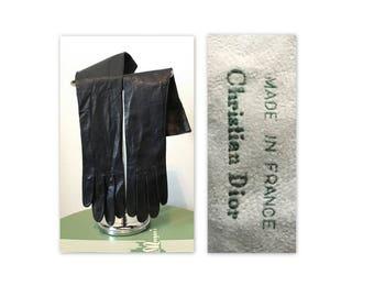 Christian Dior vintage des années 60 en cuir gants 6,25 en dessous du coude en bleu marine foncé