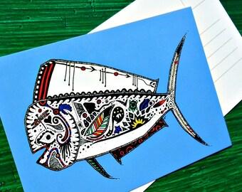 Postcard Blue Mahi Mahi Animal Art