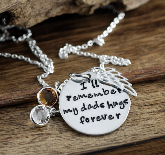 I'll remember my dad's hugs forever, Remembrance Necklace, Bereavement Jewelry, In Memory Of Dad, Memorial Necklace, Silver Angel Wing Gift