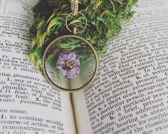 Dried flower botanical necklace, real preserved purple flower