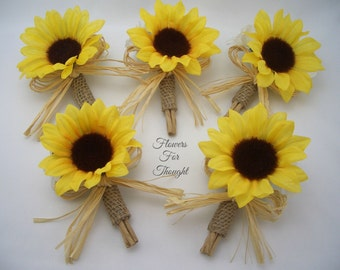 5 Rustic Sunflower Burlap Boutonnieres with Straw Bows, Groomsmen Wedding Flowers, FFT original, Made to Order