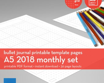 A5 | 2018 Monthly Set | Bullet Journal Printable Templates | Plus grid | 5mm