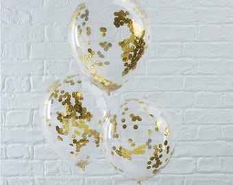 5 Gold Confetti Balloons, Wedding Balloons, Birthday, Engagement Balloons, Baby Shower, Bridal Shower, Hen Party, Bachelorette
