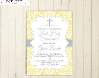 Yellow communion invitation girl first communion invitation boy communion confirmation invitation printable baptism invitation yellow 166