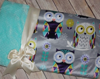 Ready to Ship- Minky Blanket - Owls - Silver and Aqua- 27x41- Stroller blanket