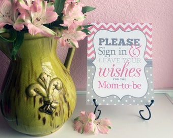 SALE Please Sign in & Leave Your Wishes 8x10 Printed Baby Shower Guest Book Sign - Pink and Gray Chevron Polka Dots Ready to Ship