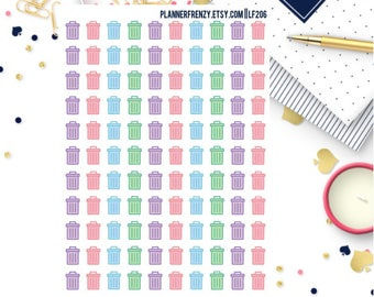110 Trash Can Stickers! - A perfect fit for any planner! LF206