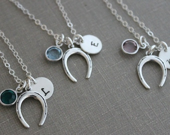 Sterling silver horseshoe bridesmaid set charm necklaces, Personalized initial disk, Swarovski crystal birthstone, Western Country Wedding