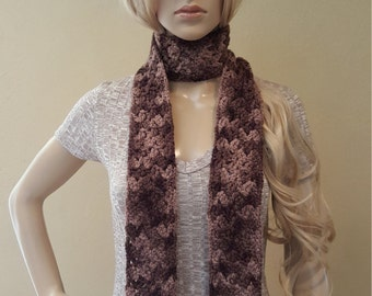 Crochet Brown Long Skinny Scarf, Organic Hand-Dyed Wool, Knitted Brown Super Skinny Scarf, Crochet Long and Skinny, Brown, Soft and Squishy