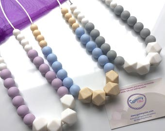 Teething Necklace | Nursing Necklace | Babywearing Jewelry | Fiddle Necklace | Silicone Teething Jewelry | Gummy Chic | Chewing Beads