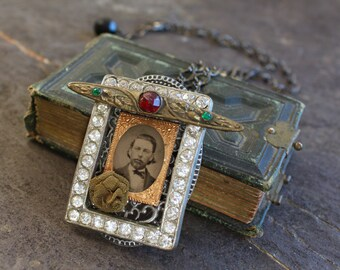 """Gem Tintype Necklace """"Some mother's darlin' in 1870"""" memento mori steampunk gothic vintage, antique, jewelry, recycled repurposed embossed"""