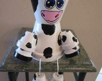 Cute Clay Pot Black and White Cow, Great Conversation Piece, Inside or Outside