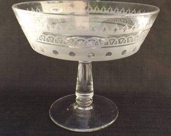 EAPG  Hobbs, Brockunier's No. 77  Compote decorated with (aka) Conventional Band sand-blasted decoration