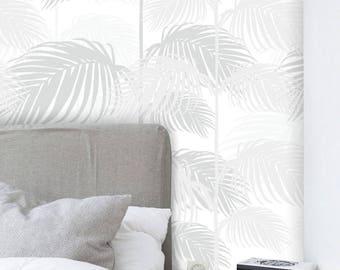 Removable Wallpaper, Peel and stick wallpaper, Wallpaper, Tropical wallpaper, Leaf wallpaper, Self adhesive wallpaper, Grey wallpaper