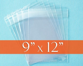 "100 Cello Bags: 9 x 12"" Inches, Resealable Acid Free Crystal Clear Photo Packaging"