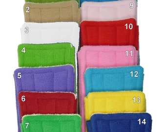 "5 FLEECE & TERRY Double Sided Reusable Swiffer Pads, Fits 10"" tab mop heads, EcoGreen Pads, washable Swiffer Sweeper pads, mop and dust pads"