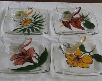 Vintage  Hand Painted 1950s 50s 1960s 60s Square Snack Set Tennis Set Luncheon Set Cups and Saucers Set of 4