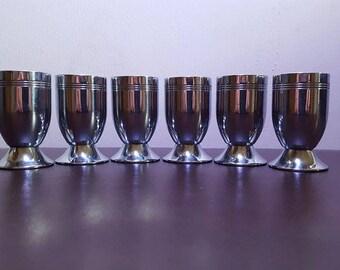 1930s art deco chrome cordial glasses