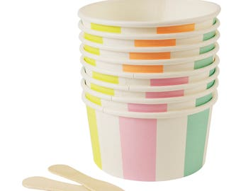 Pastel Striped Ice Cream Cups, Toot Sweet Meri Meri, Pastel Candy Cups, Ice Cream Party, Pastel Ice Cream Cups, Dessert Cups, First Birthday