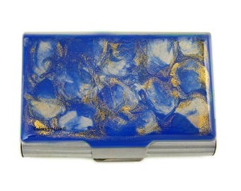 Large Business Card Case Hand Painted Enamel Cobalt Blue and Gold Quartz Inspired Design Custom Colors and Personalized Options