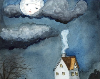 Art Print - Watercolor Illustration, Girl Face in the Moon, Moonlight Cloudy Night, Dog Howling, Cozy House,Glum, Moody 5x7