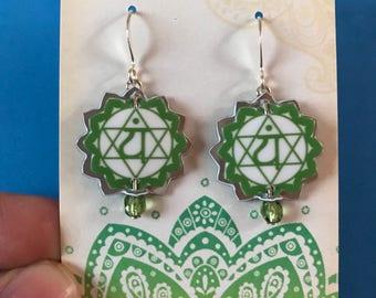Chakra Earrings, Anahata, Heart Chakra Earrings, Yoga Earrings, Yoga Chakra Gifts, Spiritual Earrings, Spiritual Gift, Meditation, Love Gift