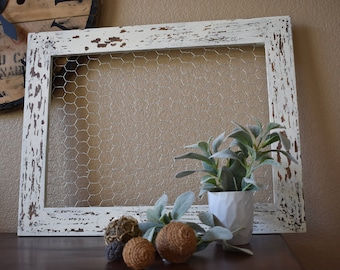White chippy Farmhouse Chickenwire Frame, weddings, rustic, farmhouse inspired, chippy white, photos, cards, home decor