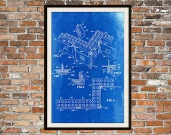 Lego Patent - Blueprint Art of a Lego Brick Technical Drawings Engineering Drawings Patent Blue Print Art Item 0128
