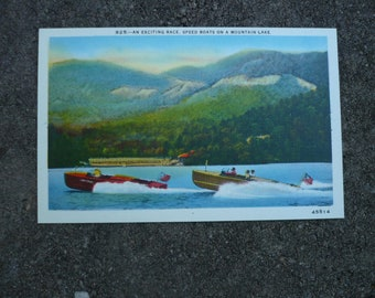Post Card , Chris Craft Speed Boat , Mountain Lake