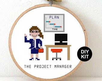 Cross Stitch Kit project manager. Gift for project manager. Project manager gift ideas. Gift for management consultant.