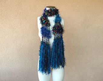 Dark Teal Scarf, Blue Scarf Black Rainbow Scarf Fringe Fashion Accessories Scarves with Multicolored Yarn Color Dots