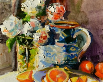 ART PRINT of Katana's Oranges. Wall Art of original oil painting by Cecilia Rosslee printed on paper. Roses.Oranges. Blue pottery