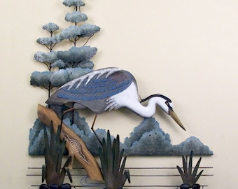 Fishing Great White Heron Metal Wall Art - CW592