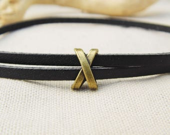 10 pearls metal to form X A22293 bronze leather