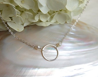 "Simply ""O"" with Pearls on Sterling Silver Chain"