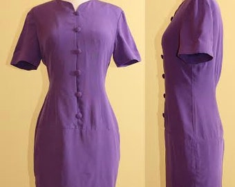 Vintage YL By Yair Purple 100% Silk Fitted Dress 1980s