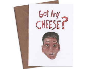 Got any CHEESE, Steve Urkel Greeting Card, Family Matters Card, Funny Card, Quirky Card