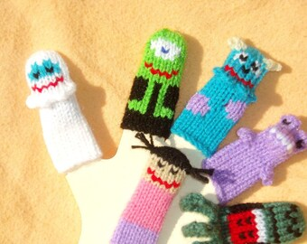 Monsters United Finger Puppet Set  (Includes 5 Monsters and 1 Girl)  We can create custom listings of individual puppets or puppet sets.