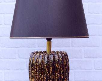 Vintage table lamp ceramic shiny patent black and yellow with black shade / lamp living room - home decor.