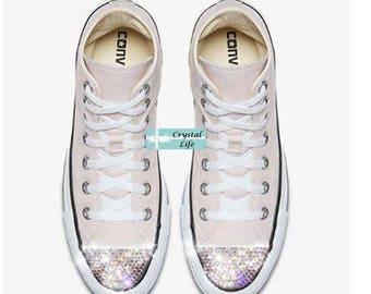 SWAROVSKI Bling CONVERSE-Wedding Shoes -Rose Pink HI Top Chuck Taylors with Satin Shoe Laces- Sparkle Chucks