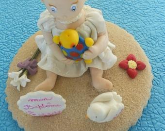 Figurine baptême personnalisée en porcelaine froide sur commande