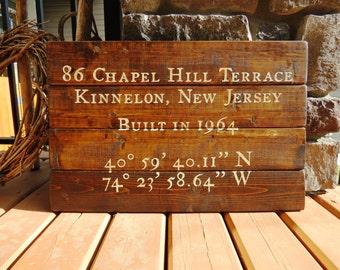 Address & Coordinates Custom Wood Sign - Established Date, Rustic, Distressed, Cabin, Location