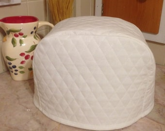 8 Inch Tall Toaster Cover 2 Slice White Quilted Fabric Kitchen Small Appliance Cover Ready to Ship Next Business Day