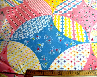 """Vintage 1950's Cotton Fabric 36"""" Wide CHEATER PATCHWORK Pink Blue Yellow Red Green White 36"""" Wide By 36"""" Long BTY"""