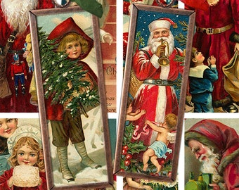 Printable Vintage Set of Two Victorian Christmas Santa Claus Microslides Tags, 1x3 inches, Digital Collage Sheet Download -- piddix 414, 415
