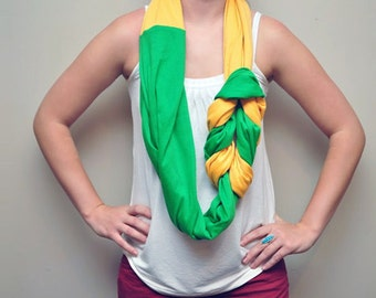 Long Braided Infinity Scarf - Canary Yellow & Green
